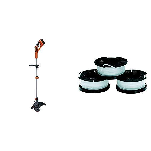 BLACK+DECKER Cortabordes a batería 36V, 2Ah, ancho de corte 30 cm + Black+Decker A6485-XJ 3 bobinas de Hilo Reflex Simple para cortabordes