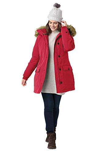 Woman Within Women's Plus Size The Arctic Parka Coat - 3X, Classic Red