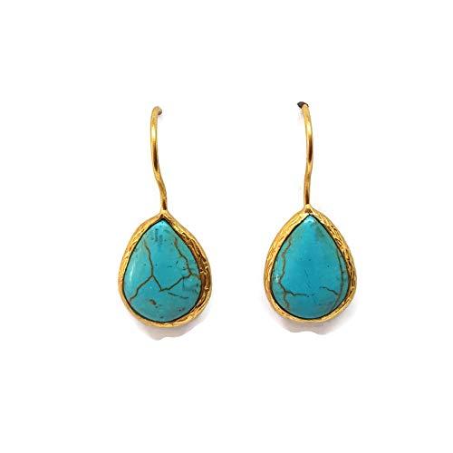Mystic Jewels by Dalia - Pendientes Largos forma de gota con Piedra Natural (Turquesa)