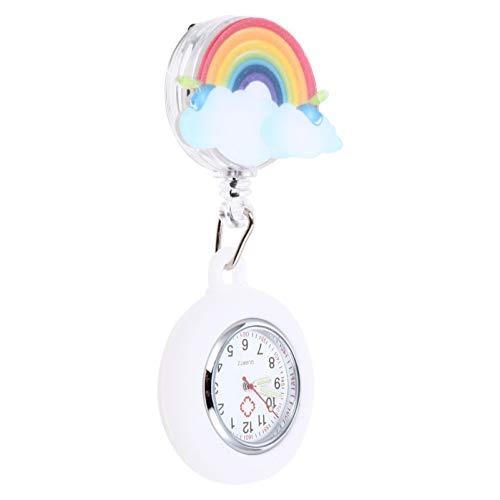NICERIO Reloj de Enfermera Arcoíris- Reloj con Insignia Reloj Retráctil con Clip Reloj de Bolsillo Médico Reloj de Enfermera Colgante para Mujer Enfermera Médico