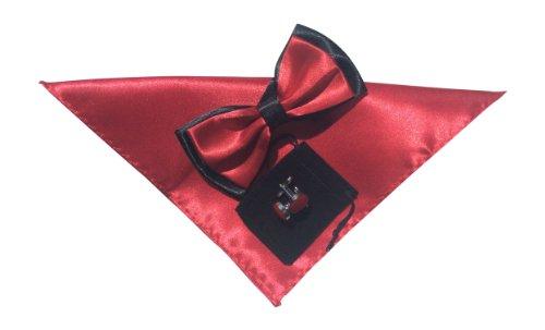 Papillon pour homme einstecktuch et boutons de rose rouge mis two tone no34 noir