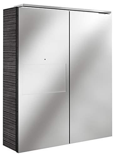 Lanzet SmarT Multimedia Spiegelschrank/Badschrank mit Internetanbindung + Touchscreen/Maße (B x H x T): ca. 60 x 68 x 18 cm/LED Spiegelschrank mit 2 Türen/Screen Links/Korpus: Schwarz