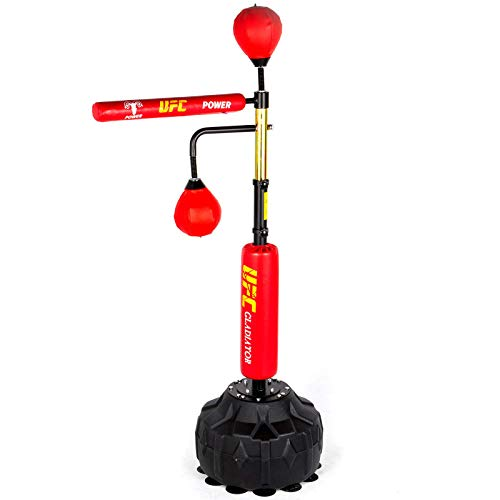 Happybuy Boxing Speed Trainer, Punching Bag Spinning Bar, Training Boxing Ball with Reflex Bar & Gloves, Solid Speed Punching Bag Free Standing, Adjustable Height, for Adult&Kid, Red with Two Ball