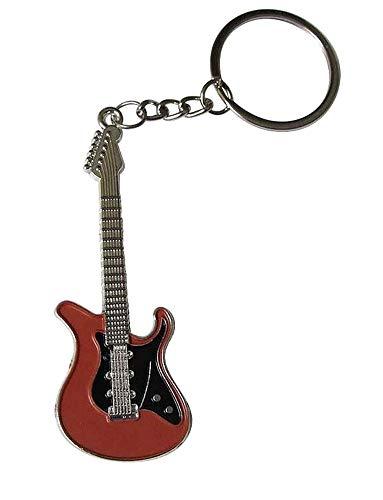 Llavero de acero plateado, estilo guitarra eléctrica.