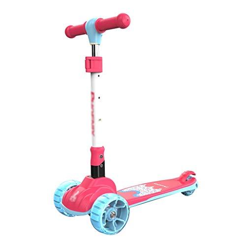 Scooter Scooter para niños de 3 a 12 años de edad con luces LED de 3 ruedas, patinete plegable extra ancho para niños con 4 altura ajustable y patín de inclinación a dirección (color rosa