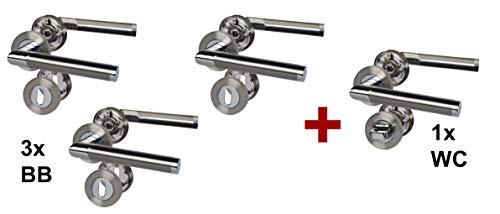 Türbeschlag 4er Set, Edelstahl-BI Color Rosettengarnitur mit Metallunterkonstruktion; Schraubrosetten für Zimmer- und Badtüren; Türklinke; Türgriff;