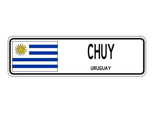 TNND Señal de Calle New Chuy Uruguay con Bandera de Uruguay para Ciudad, Campo, Calle de Pared, 4 x 16 Pulgadas