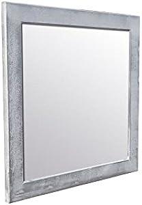 NAPLES Miroir pin - 62x62 cm - Peint main argenté et blanc