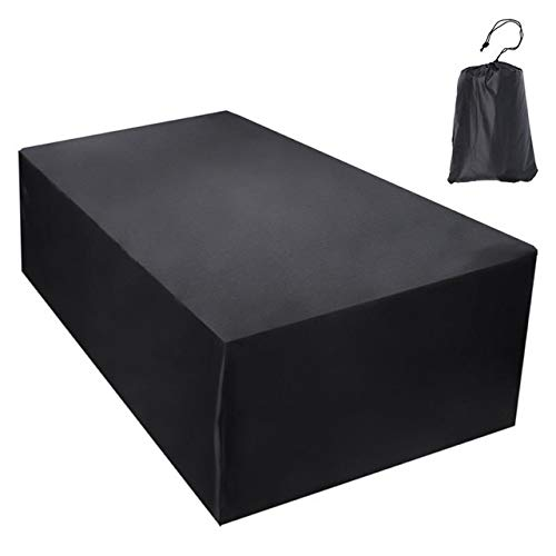 Tarp Tarpaulin Outdoor Garden Furniture Dustproof Cover for Rattan Table Cube Sofa Chair Waterproof Rain Patio BBQ Protective Cover Plant Covers MDYHJDHYQ (Color : Black, Size : 308x138x98cm)