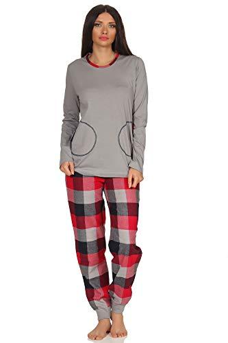 NORMANN-Wäschefabrik Damen Flanell Pyjama Mix & Match - Top Single Jersey, Hose Flanell auch in Übergrößen, Farbe:grau, Größe2:44/46