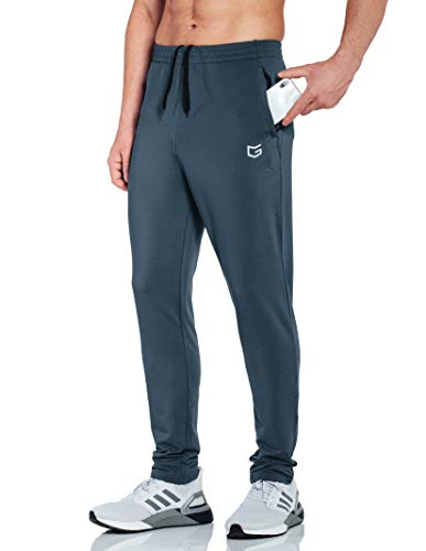 G Gradual Men's Sweatpants with Zipper Pockets Tapered Track Athletic Pants for Men Running, Exercise, Workout (Grey, Large)