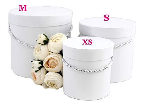Ensemble de 3 boîtes à décor rondes en blanc avec cordon de serrage blanc, boîte décorative, boîte à fleurs, boîte de rangement, boîte à chapeau
