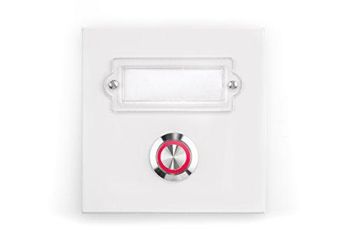 HUBER LED Klingeltaster 12333, 1-fach aufputz/unterputz, quadratisch, Echtmetall, LED Lichtfarbe rot