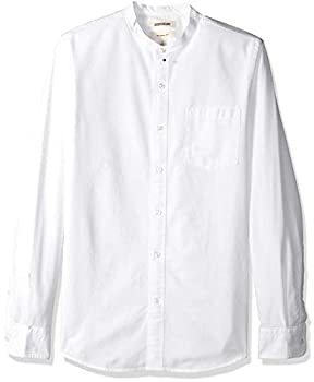 Goodthreads Men s Slim-Fit Long-Sleeve Band-Collar Oxford Shirt -white X-Large