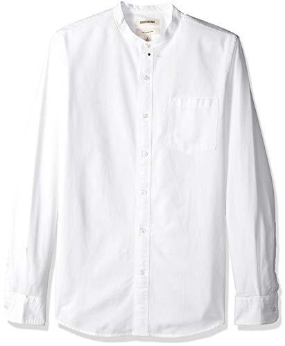 Amazon-Marke: Goodthreads Herren-Oxford-Shirt, Langarm, schmale Passform, mit Stehkragen, Weiß (White Whi), US S (EU S)