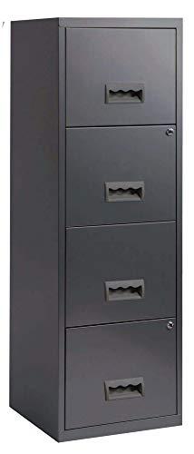 shelfmade Hängeregisterschrank Aktenschrank Stahl mit 4 abschließbaren Schubladen 126 x 40 x 40 cm in versch. Farben (Anthrazit)