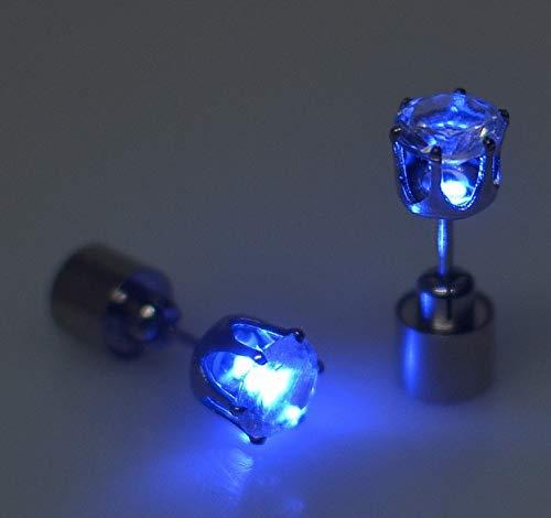 Tonver LED-Ohrringe, 1 Paar, Edelstahl, leuchtende LED-Ohrstecker, Accessoires für Damen, Mädchen, Tanz, Party blau