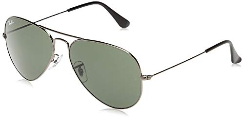 Ray-Ban RB3025 Classic Polarized Aviator Sunglasses, Gunmetal/Grey/Green, 58 mm