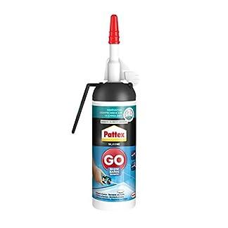 Pattex Silicona Go Baños, silicona blanca para una aplicación fácil y precisa, silicona antimoho para baño y cocina, sellador de juntas impermeable, 1 x 100 ml