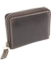 LEAS Tarjetero de crédito con la cremallera y compartimento de notas Vintage Style, Piel auténtica, marrón