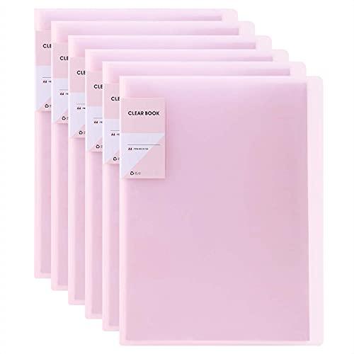 GUOKOFF A4 Sichtbuch ( Rosa, 6 Stück), Präsentationsbuch mit 30 Klarsichthüllen, A4 Display Folder, Projektordner Präsentationsordner, Präsentations-Schnellhefter, Präsentationsmappen