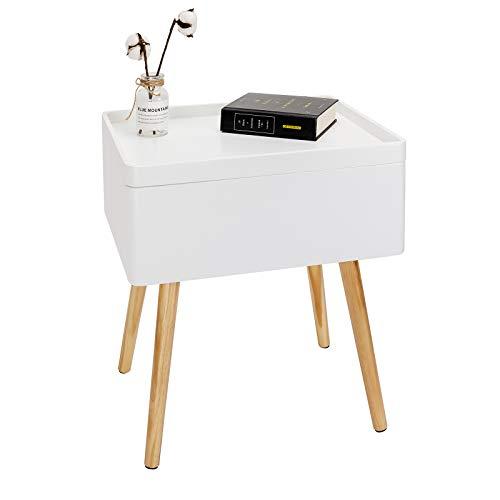 WOLTU TS75ws Comodino Bianco Contenitore Organizzatore da Letto Tavolino da Salotto in Legno