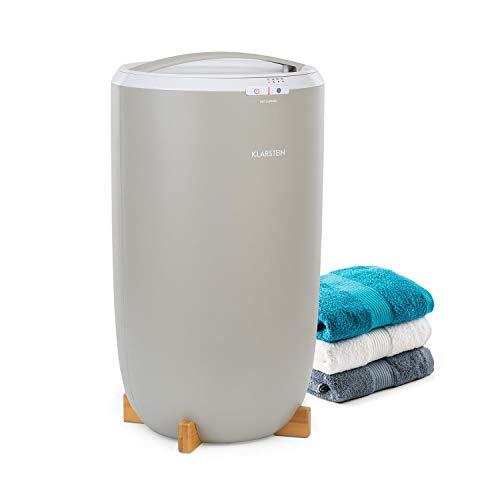 Klarstein Cozy Wonder Calentador de toallas - Diseño compacto, 20 litros de volumen, 400 W de potencia, temporizador de 15/30/45/60 minutos, Enrollador de cable, Patas de bambú, Gris