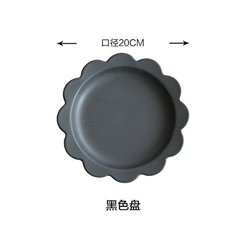 YUWANW Côté Fleurs Noir Et Blanc Mat Série Disque 8 Pouces Plateau À Couverts Ouest Saladiers Bol Dessert Pz-66, Plaque Noire