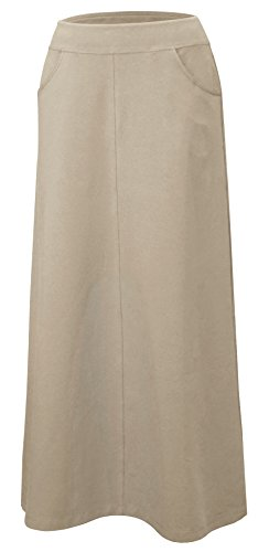Baby'O Women's Stretch Cotton Knit Western Style Ankle Length A-Line Skirt (Khaki - Large)