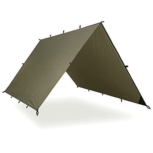 Aqua Quest Safari Tarp - 100% wasserdichtes leichtes SilNylon Bushcraft Camping Obdach - 3x2, 3x3, 4x3, 6x4 m - Olivgrün, Camo/Tarnung oder mit Zubehör Kit (Olivgrün, 4 x 3 m)