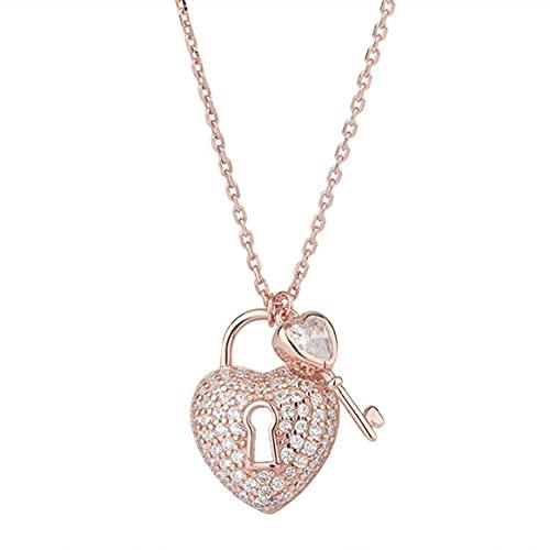 Paño de pulido de plata, collar con candado de amor con llave, amigas de minorías femeninas, regalo de cumpleaños, colgante, collar, colección de joyas, accesorios para mujeres - oro rosa 21-50 cm