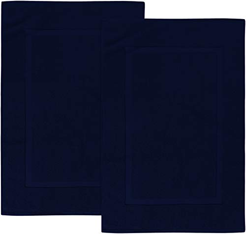 Utopia Towels Cotton Banded Bath Mats, Navy Blue, [Not a Bathroom Rug], 21 x 34 Inches, 100% Ring Spun Cotton - Highly Absorbent and Machine Washable Shower Bathroom Floor Towel (Pack of 2)