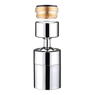 GuDezDual Function 360 Degree Swivel Faucet Aerator,Big Angle 80 Degree Rotation 2 Sprayer Kitchen Faucet,55/64 Inch-27UNS Female Thread,2.5GPM,Polished Chrome