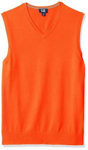 Cutter & Buck Men's Cotton-Rich Lakemont Anti-Pilling V-Neck Sweater Vest, College Orange, XX-Large