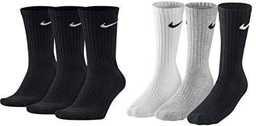 Nike SX4508 - 6 pares de calcetines para hombre y mujer, blanco o negro o gris Negro, blanco, gris, negro. 34/38 EU