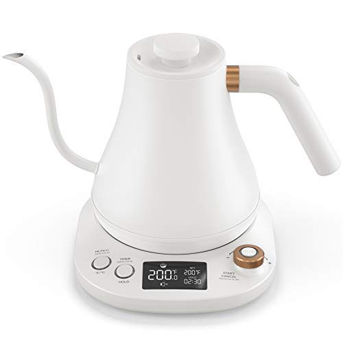 Willsence Gooseneck Kettle Temperature Control, Pour Over Electric Kettle for Coffee and Tea, 100% Stainless Steel Inner Lid and Bottom, 1200W Rapid Heating, 0.8L, Built-in Stopwatch