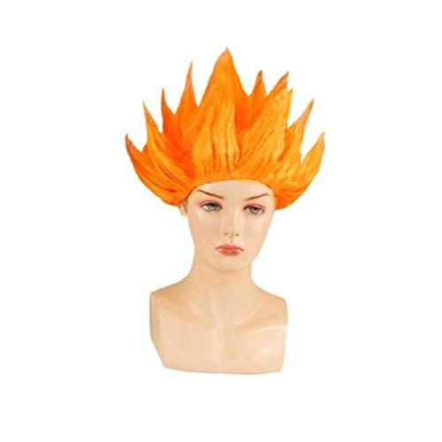 Biamoxer Goku Cosplay Perücken Dragon Balls Super Saiyajin Blau Rot Schwarz Gelb Goku Peluca Anime Männer Erwachsene Frauen Haare Cosplay PerückeOrange