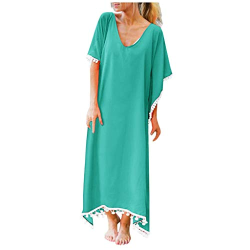 Lenfesh Summer Mujer Multicolor Color sólido con Flecos Manga de murciélago Suelto Largo Traje de baño...