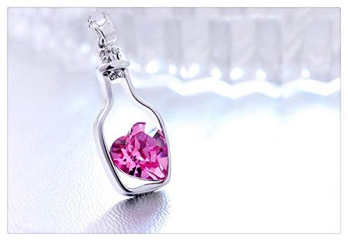LUOSI Collar de corazón de Cristal for Mujer, Collar Popular, Colgantes, Botellas de Deriva de Amor, Regalo for niña Collares (Color : Hot Pink)