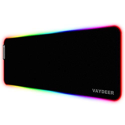 Vaydeer RGB Gaming Mauspad Großer Stoff Erweitert Schreibtisch LED Matte Locking Verdickung Rutschfeste Gummibasis Tastatur MausFarbunterlage für Gamer, Esports Profis, Büroarbeit (800×300mm)