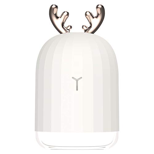 warrita Mini USB Luftbefeuchter, Kühle Niedliche Nebel Einstellbare Desktop Leise Betrieb 220 ml Luftbefeuchter mit Nachtlicht Automatische Abschaltung für Kinder, Schlafzimmer, Büro, Yoga (Deer)