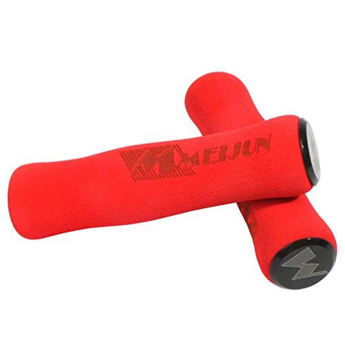VORCOOL Esponja de Bicicleta Manillar Puños Bicicleta de montaña Ultraligero de Espuma de Alta Densidad Esponja de Silicona Manillar Agarre - 1 par (Rojo)