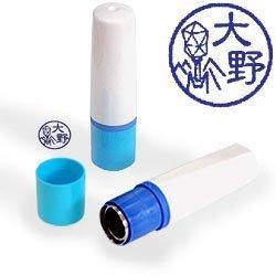 【動物認印】ファージ ミトメ2・T2ファージ・DNA注入中 ホルダー:ブルー/カラーインク: 青