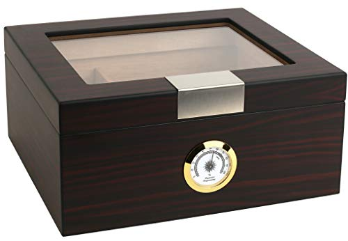 Mantello Ebony Glass-Top Cigar Humidor Humidifier Box with Hygrometer - Holds (25-50 Cigars) Cedar Divider, Packets Holder - Humidity-Controlled Spanish Cedar Storage Container - 10x8 in