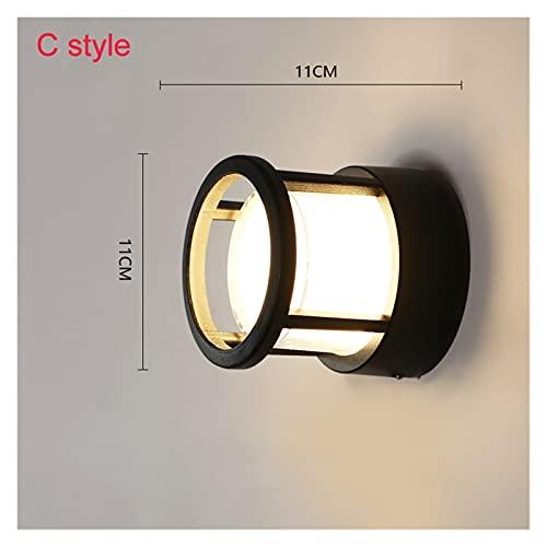 lámpara de pared Luz de pared LED de detección de movimiento de cuerpo humano de aluminio IP65 Lámpara de pared al aire libre impermeable AC90-260V ( Color : No Sensor , Emitting Color : C style 5W )