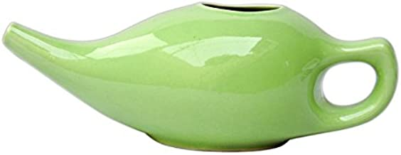 HealthGoodsIn - Porcelain Ceramic Neti Pot Green Color for Nasal Cleansing with 10 Sachet Neti Salt
