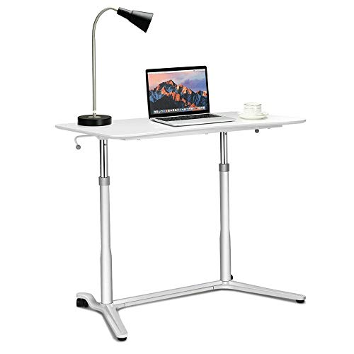 Mobile Desk Mobile Side Table, verstelbare Movable w/Tablet Slot & Wheels, draagbare laptop standaard for slaapbank Modern Elegant Design (Color : White, Size : One size)