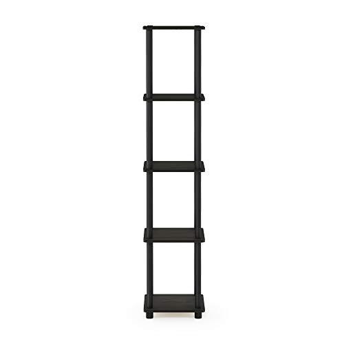 FURINNO Turn-N-Tube 5-Tier Corner Square Rack Display Shelf, Round, Espresso/Black