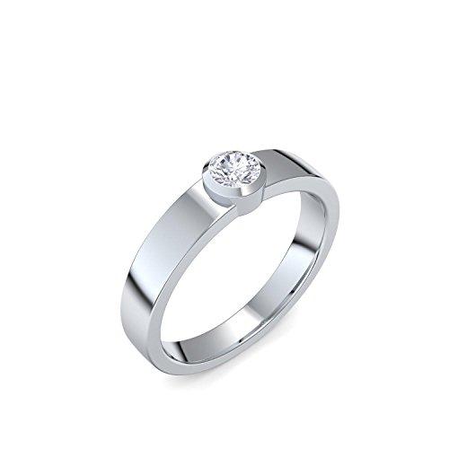 Heiratsantrag Ring Antragsring Verlobung Platin Ring Diamant 950 + inkl. Luxusetui + Diamant Ring Platin Diamantring Platin 0,18 Carat SI1/H (Platin 950) - Heaven AM53 PL950BRFA50