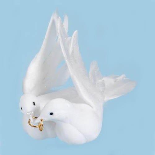 Taubenpaar mit Ring, weiss, 35x32 cm